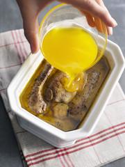 Recouvrir les lobes de graisse d'oie fondue avant réfrigération