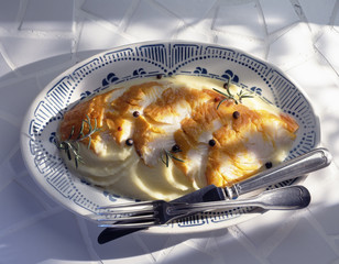 Poached haddock with mashed potatoes