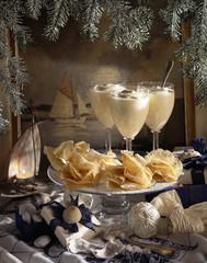 Christmas crisp pancakes with vaniila cream