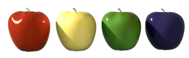 multicolored apples on white
