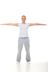 Fitness woman with hands well stretched