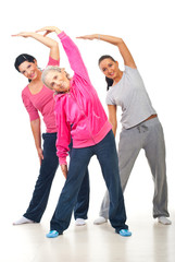 Healthy women stretching