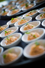 A plate filled with apetizers of salmon mousse