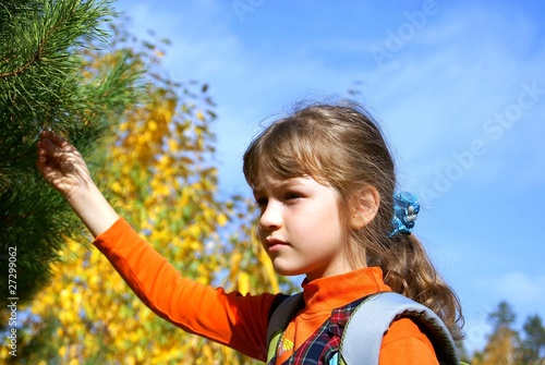 The schoolgirl against autumn wood