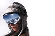 femme et masque de ski sous la neige