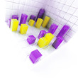 Abstract yellow and purple metallic cubes on a white
