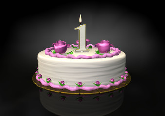 Birthday cake 1 year candle with roses