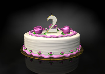 Pink birthday cakewith 2 year candle blown