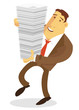 Businessman character carrying stack of paper
