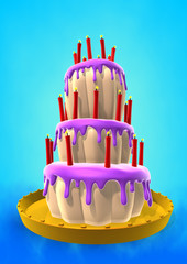Cartoon style violet cake and sparkle candles