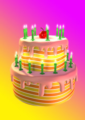 A big colored birthday cake with green candles