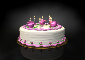 Seven birthday candle on pink cream cake