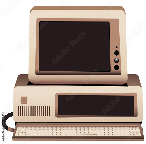 Illustration of an old computer system with monitor