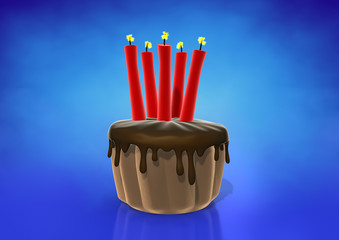 Spark candles on chocolate cake