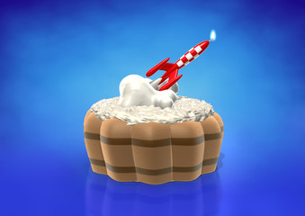 Rocket candle on birthday cake