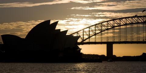 Opera house and bridge silouette