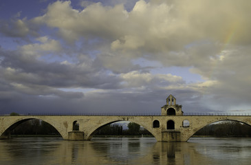 Pont d'Avignon and Rhone river in Avignon, France