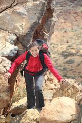 Beautiful woman hiking
