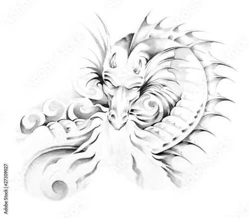 Sketch of tattoo art, dragon © Fernando Cortés