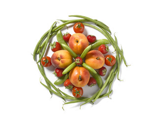 Plate-shaped composition with vegetables and fruit