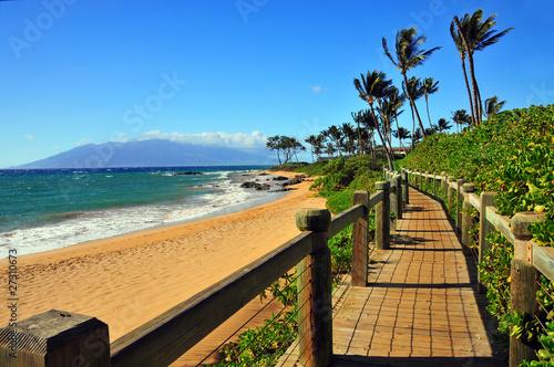 Leinwanddruck Bild Wailea Beach Walkway, Maui Hawaii