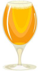 goblet on a stem, filled with light beer