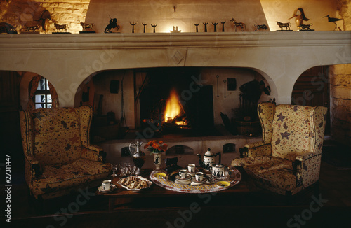 Tea and coffee by the fireplace