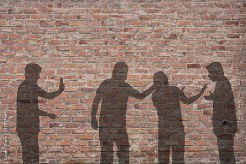 Bullying scene shadow on the wall