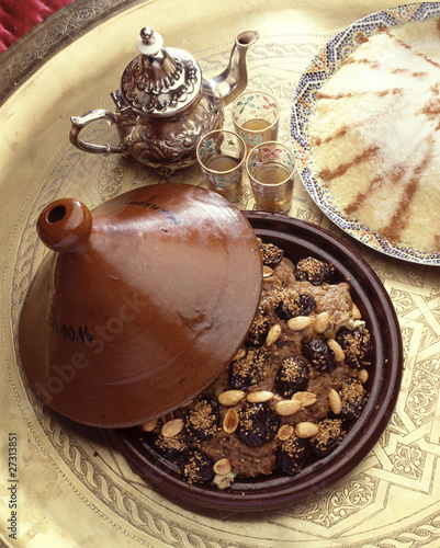 Moroccan prune and almond tajine