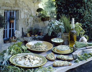 Herb menu on a table outdoors