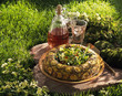 crown-shaped courgette tart with mint