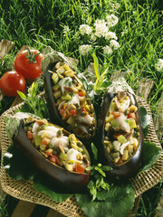 aubergines stuffed with cod