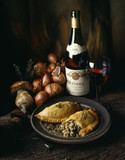 mushrooms and shallots in puff pastry with Volnay red wine
