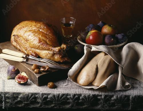 turkey and uncooked foie gras