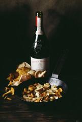 mushroom fricassee and red wine