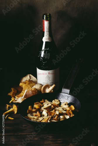 mushroom fricassee and red wine