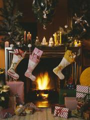 Christmas around the fireplace