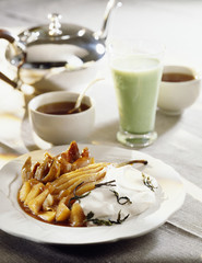 Pear compote with tea fromage blanc and green matcha tea drink