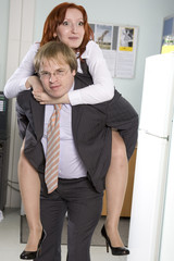 office game. Office ride. Secretary rides his boss