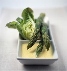 Asparagus tips with saffron sabayon