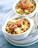 Lobster and tarragon vegetable gratin