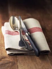Cutlery on tea towel