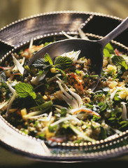 tabouleh with onions and shrimps
