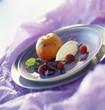 vanilla ice cream, raspberies and roast peach