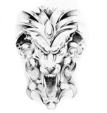 Sketch of tattoo art, gargoyle - 27319295