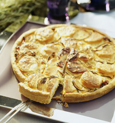 onion and Megève goat's cheese quiche