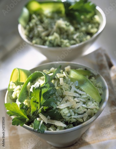 Green risotto with courgette and parmesan