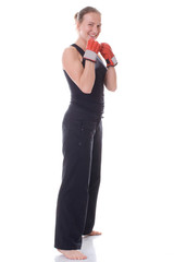 Beautiful girl with boxing gloves.