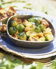 Chestnuts and brussels sprouts