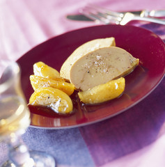 slices of foie gras with caramelized peach